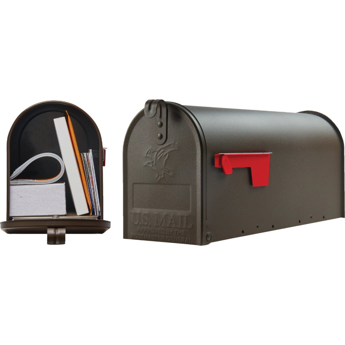 Gibraltar Elite T1 Bronze Steel Rural Post Mount Mailbox Image 1