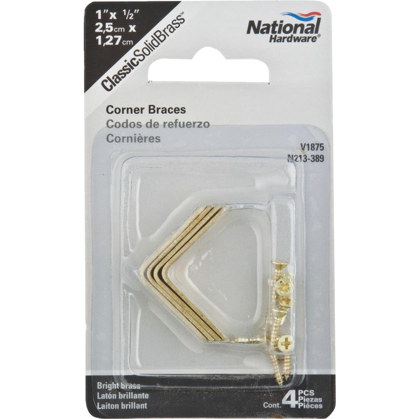 National Catalog V1875 1 In. x 1/2 In. Solid Brass Corner Brace Image 2
