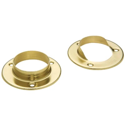 National 1-3/8 In. Steel Closet Rod Socket, Satin Brass (2-Pack)