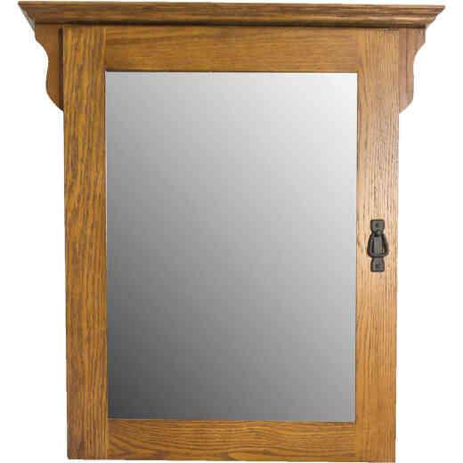 CraftMark Craftsmen Estate American Oak 30 In. W x 32 In. H x 6 In. D Single Mirror Surface Mount Medicine Cabinet