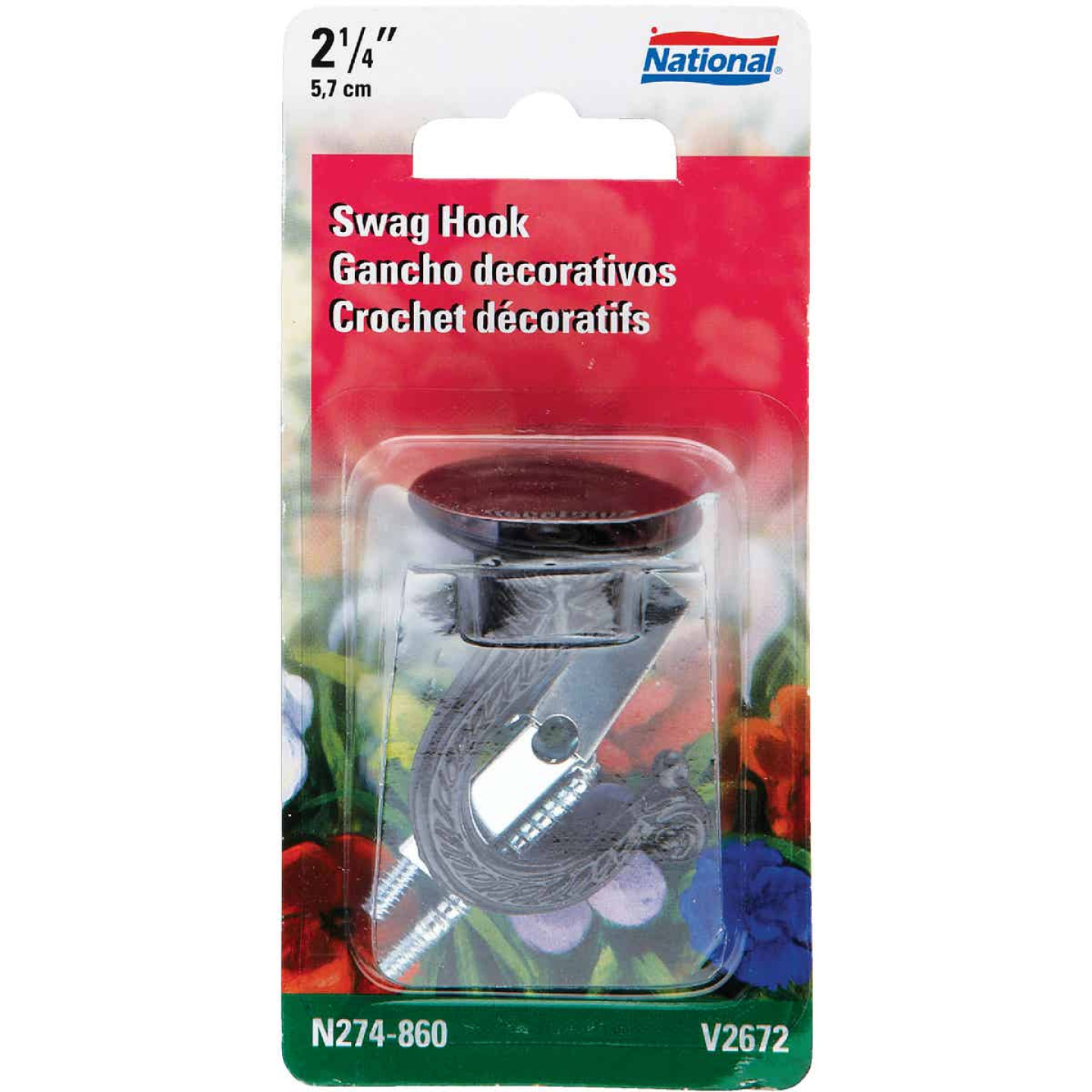 National 2-1/4 In. Black Die Cast Swag Hook Image 1
