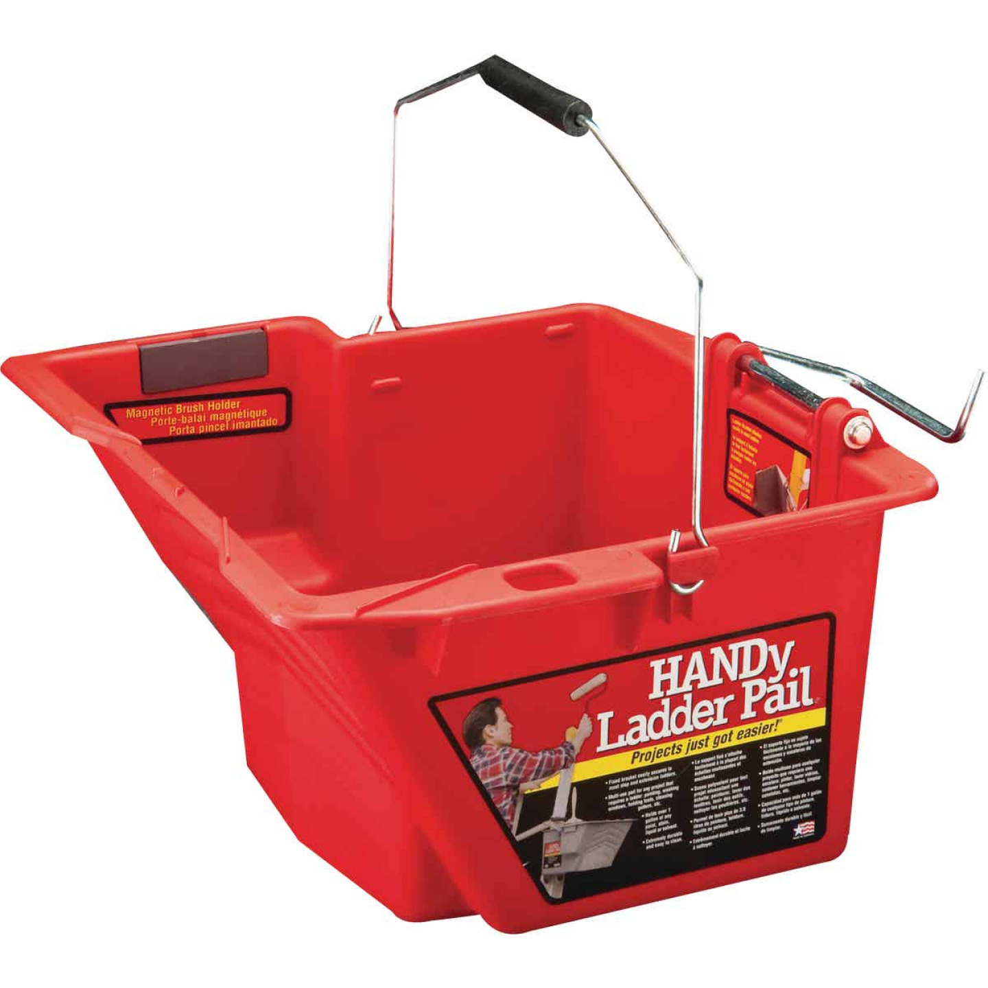 HANDy Ladder Pail 1.5 Gal. Red Painter's Bucket with Fixed Ladder Bracket And Magnetic Brush Holder Image 1